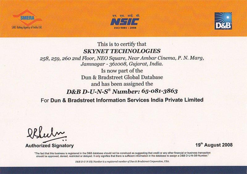 Dandb Certificate