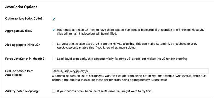 Minify js WordPress