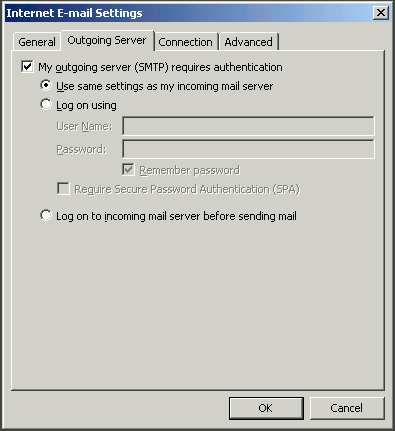 Outgoing Server Settings