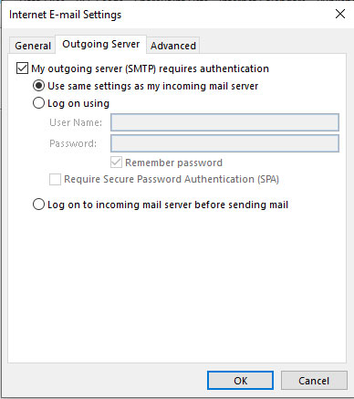 Internet Email Settings
